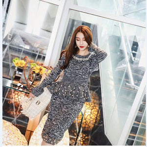 8542d1fd5d9107 Amolapha Elegant Women Knitted Sweaters Skirts Sets Pearls Long Sleeve  Pullover Tops Skirt 2PCS Suits
