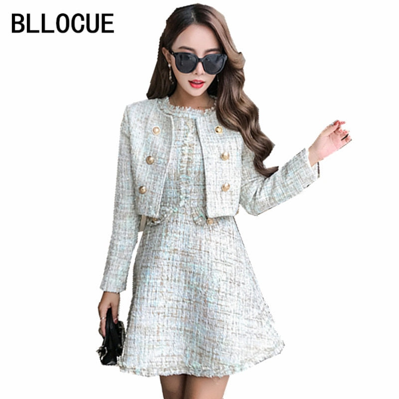 944c3c675a0 BLLOCUE 2018 Autumn Runway Tweed 2 Piece Set Dress Designer Winter Women  White Short Jacket Coat
