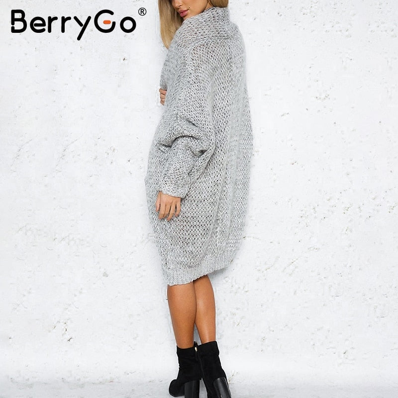 BerryGo Long cardigan female casual loose plus size cardigan 2018 knitted  Women sweater ladies autumn winter 8a205e7c5