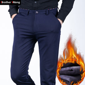 609c124ab2 Brother Wang Brand 2018 Winter New Men s Warm Casual Pants Fashion Business  Slim Elastic Fleece Thick