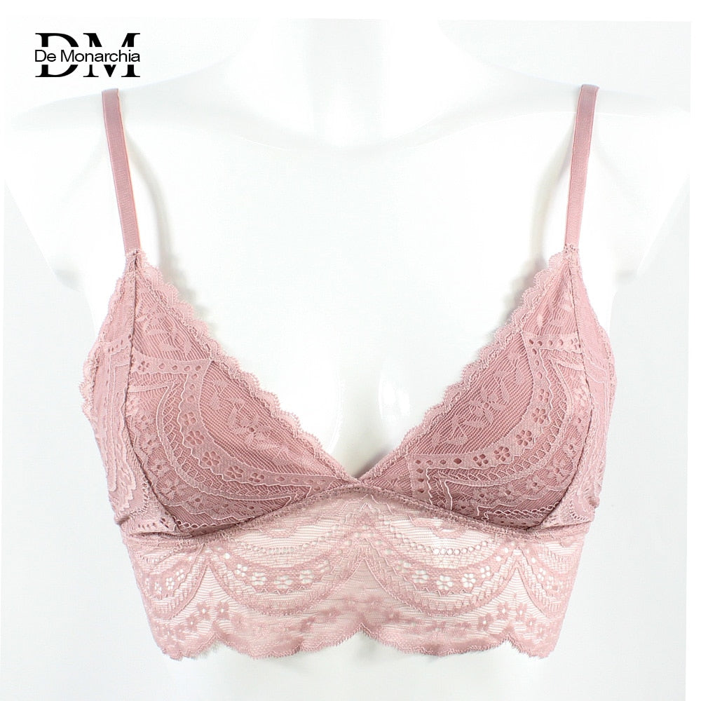 76accd7e432c2 De Monarchia Ladies Lace Bralette Sexy Lingerie Underwear Intimate Bra 3 4  Cups Crop Top