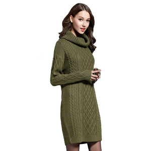 22151bba3a FLULU Winter Sweater Women Dress 2018 Solid Turtleneck Sweater Warm Oversize  Long Sleeve Sweater Dress Casual