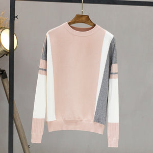 58564585fb100c GIGOGOU Autumn Winter Sweater Women Contrast Color Pullover Jumper Long  Sleeve O-Neck Knitted Tops