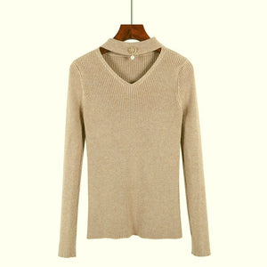 ae3574597154 GIGOGOU V-Neck Autumn Winter Pullover and Sweater Women Knitted Long ...