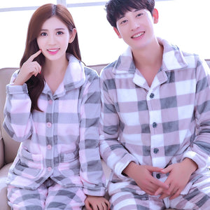 1662b5d0f Girls Coral Fleece Pajamas Female Thick Flannel Homewear Long Sleeve ...