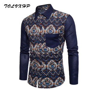 7e82e7b2aa Men Shirt Long Sleeve Slim Fit Floral Print Mens Dress Shirts Formal Shirts  Designs Camisa Social
