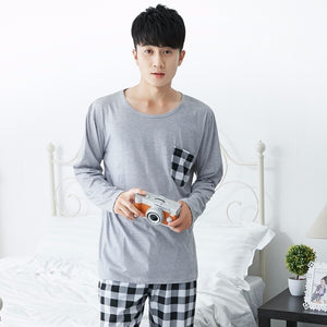 Men's Pajama Sets Men's Sleep & Lounge High Quality Casual Cotton Pajamas Sets For Men 2018 Autumn Winter Long Sleeve Pyjama Male Homewear Loungewear Mens Home Clothes