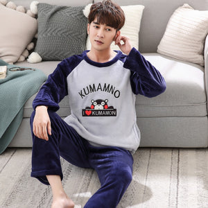 5d503074d5 Men s Pajamas Set Autumn Winter Coral Fleece Warm Thicken Flannel Warm  Pajamas Men s Long Sleeve Nightwear
