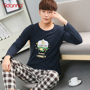 60b69f8cd6 yidanna Pajama Set Men Cotton Sleepwear Casual Male Sleep Clothing Nighties  Pyjama Long Sleeved Cartoon Plus