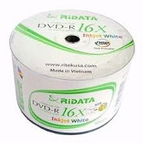 50 Pack DVD-R 16X RIDATA/RITEK 4.7G WHITE INKJET PRINTABLE (HUB PRINTABLE) RT-GP-R16X-WP! EXCELLENT QUALITY! $0.35 each
