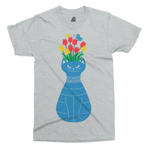 Cat Vase Printed T-Shirt