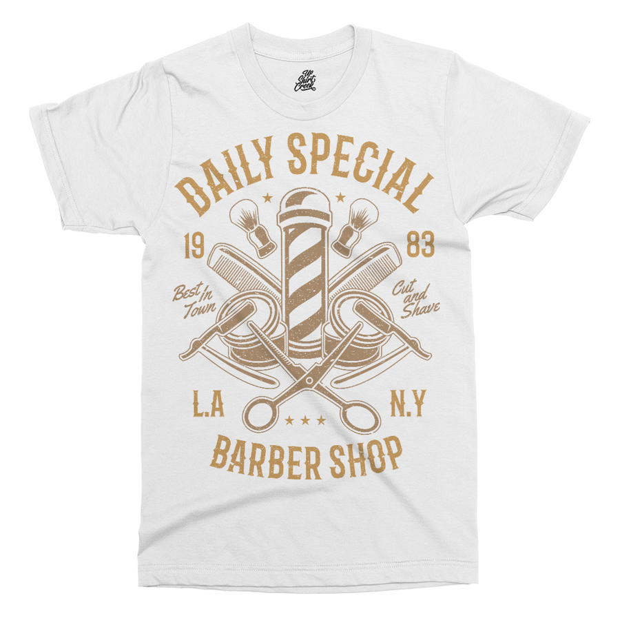 Barber Shop Printed T-Shirt - UpShirtCreek