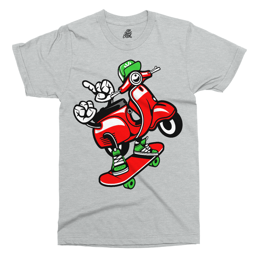 Scooter Skater Printed T-Shirt - UpShirtCreek