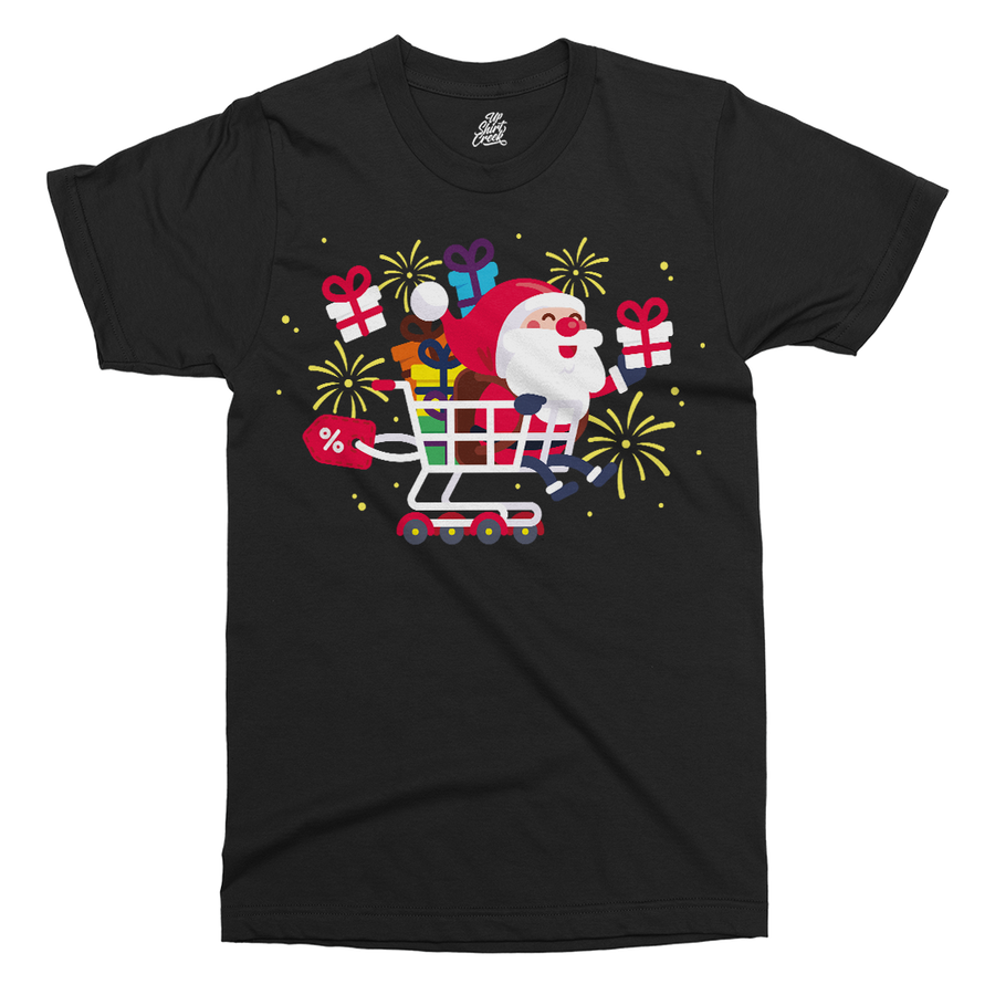Santa Shopper Printed T-Shirt - UpShirtCreek