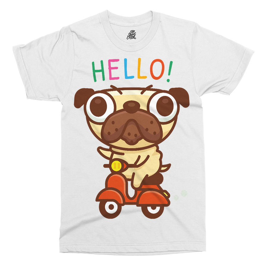Pug Ride Vespa Printed T-Shirt - UpShirtCreek