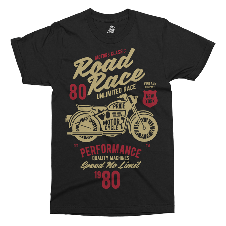 Road Race Motorcycle Printed T-Shirt - UpShirtCreek