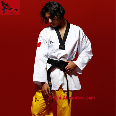 Martial Arts TKD Tae Kwon Do Korea V-neck Adult Taekwondo Master Uniform ,WTF Uniform,160-190cm,white Top,yellow Pants