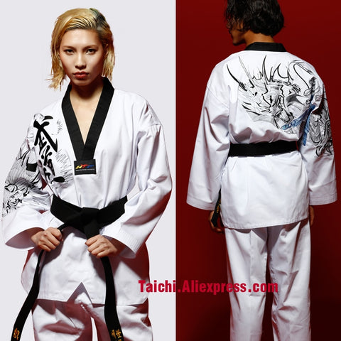 Martial Arts TKD Tae Kwon Do Korea V-neck Adult Taekwondo Master Uniform for Poomsae & Training,WTF Uniform,160-190cm