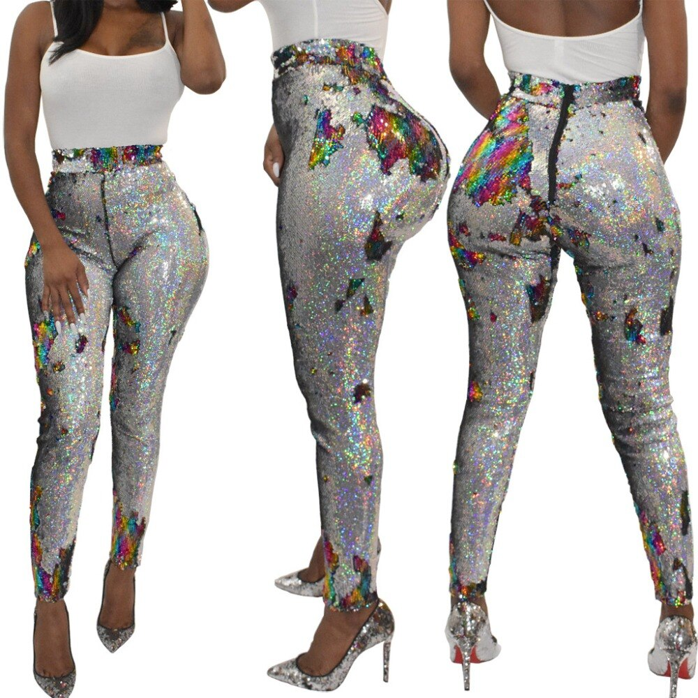 Color Sequined Street Leggings Pants