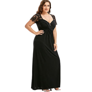 Open image in slideshow, Empire Waist Lace Panel Dress