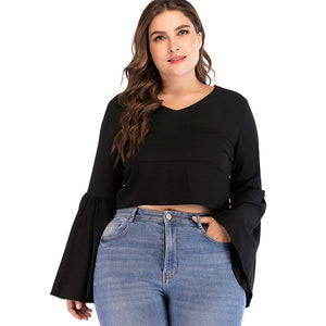 Open image in slideshow, Plus Size Back Zip Flare Sleeve Blouse