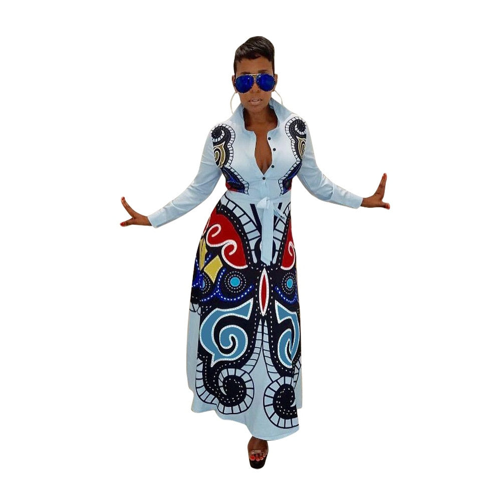 3D Butterfly Printed Long Sleeve High Waist Fit Flare Long Maxi Dress