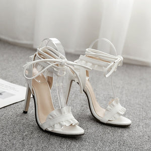 Open image in slideshow, Ladies Fish-mouth Lace-crossed Ruffled High-heeled Shoes
