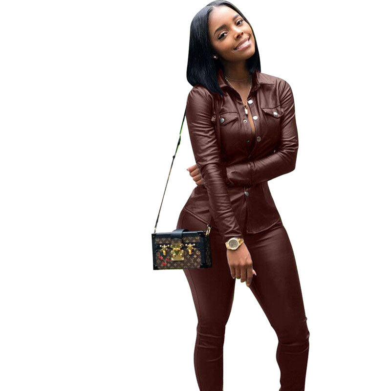Two Piece PU Leather Long Sleeve Top and Pant Suit