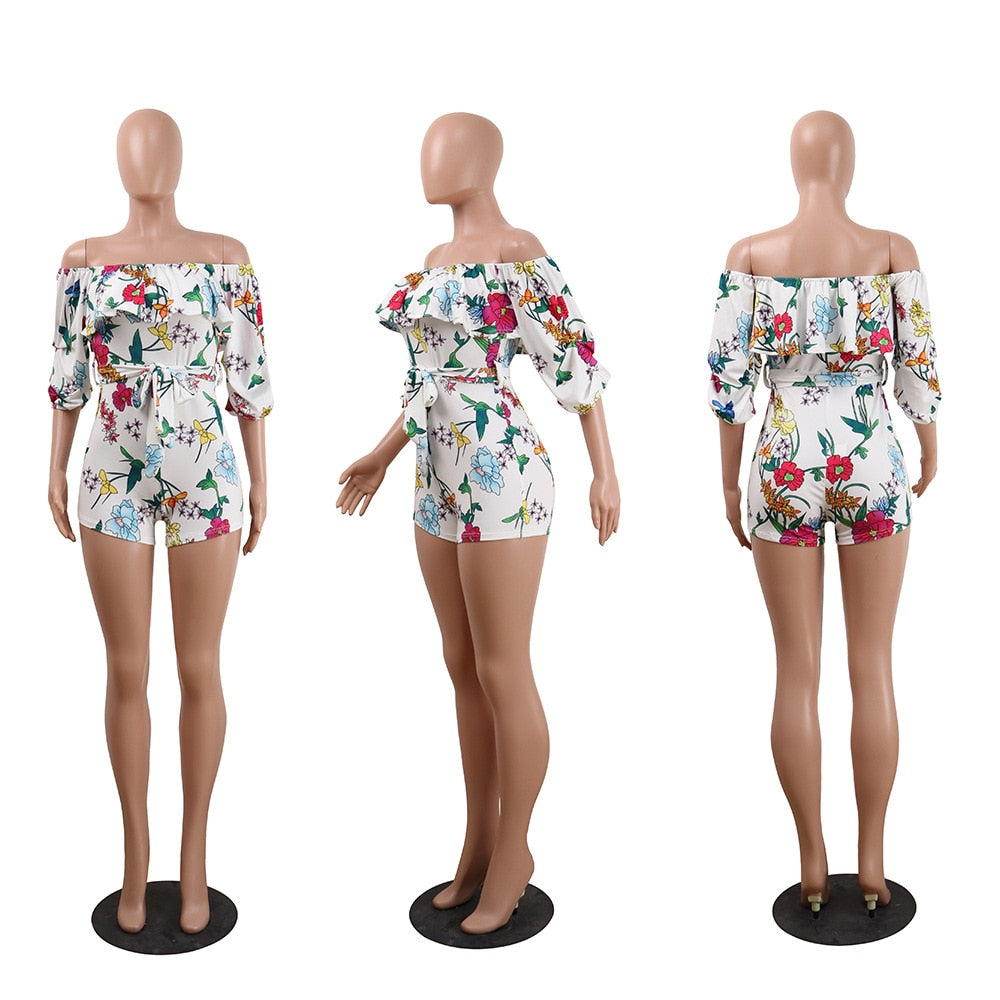 Flower Printed Casual Short Jumpsuit