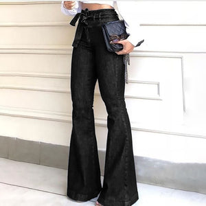 Open image in slideshow, High Waist Denim Flare Pants