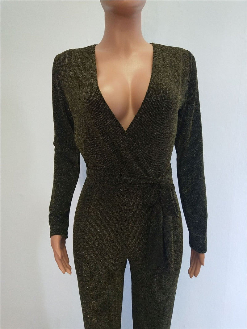 Sexy Deep V Neck Glitter Wide Leg Loose Long Sleeve Elegant Romper with Sashe