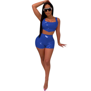 Open image in slideshow, Two Piece Sexy Solid Color Lumbar Short Top Set