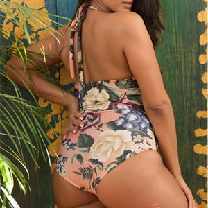 Bowknot One Piece Floral Halter Monokini High Cut Maillot Swimwear