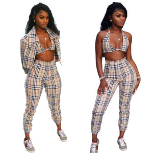 Plaid Three-Piece Trousers Set