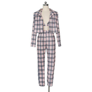 Open image in slideshow, Plaid Three-Piece Trousers Set