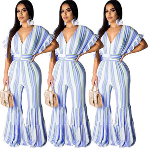 Open image in slideshow, Elegant Casual Striped long Jumpsuit
