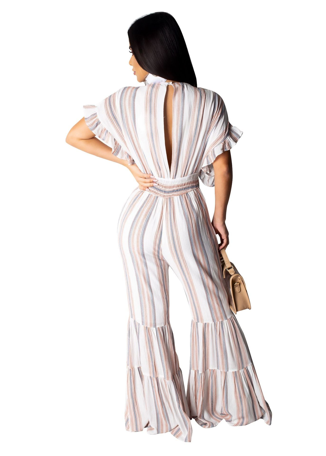 Elegant Casual Striped long Jumpsuit