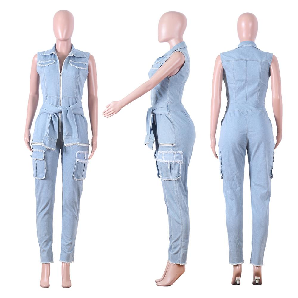 Vintage Denim Deep V Long Pants Jumpsuit