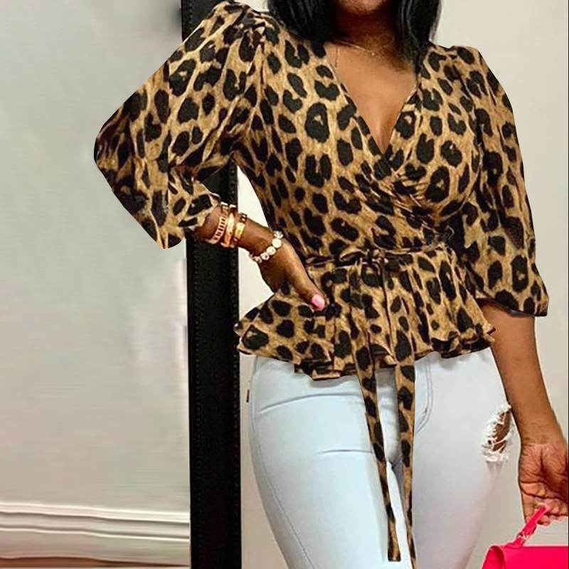Stylish Celmia Deep V-Neck Leopard Print Belted Tunic Blouse