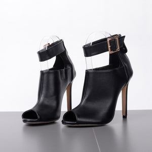 """Fetish""  High Heels Open Toe Boot Sandals Leather Pump Strap Stiletto Heels"