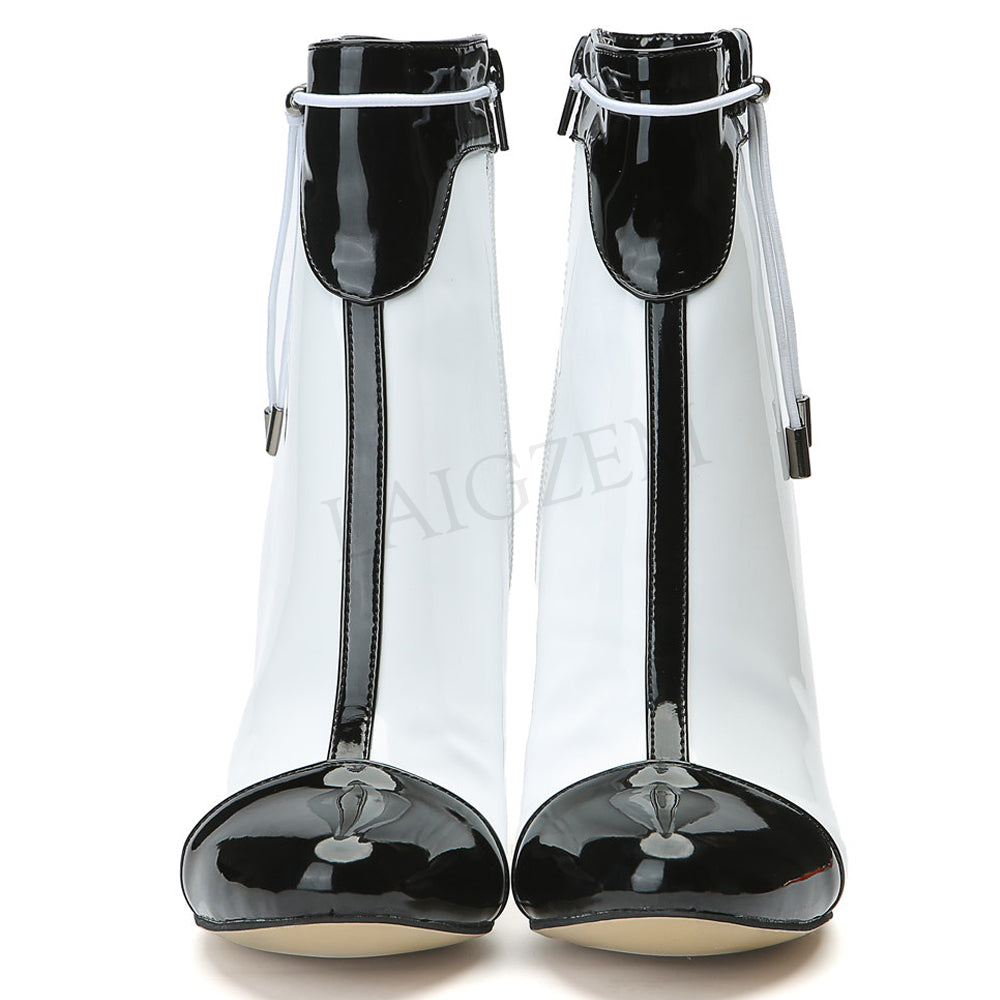 Side Zip Black White Heeled Ankle Boots