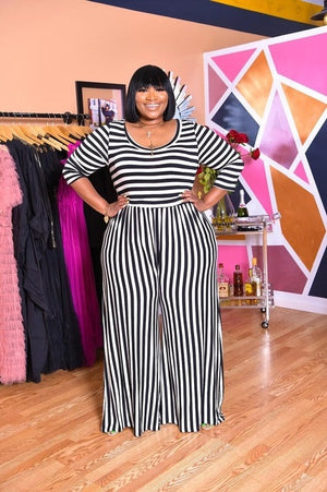 Open image in slideshow, O-Neck Striped Jumpsuits