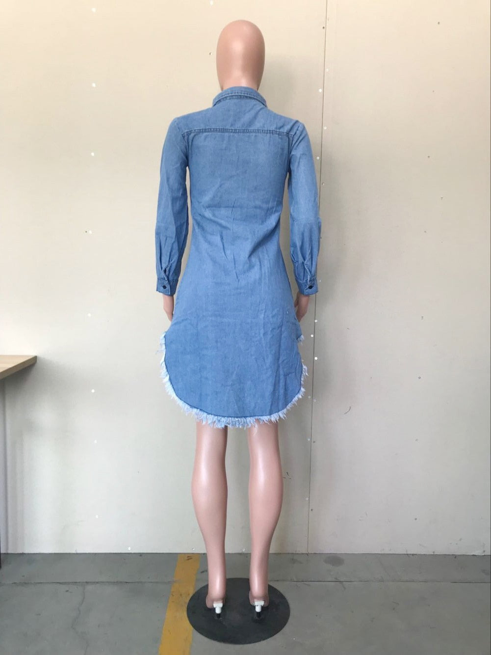 Vintage Denim Mini Asymmetrical Dress