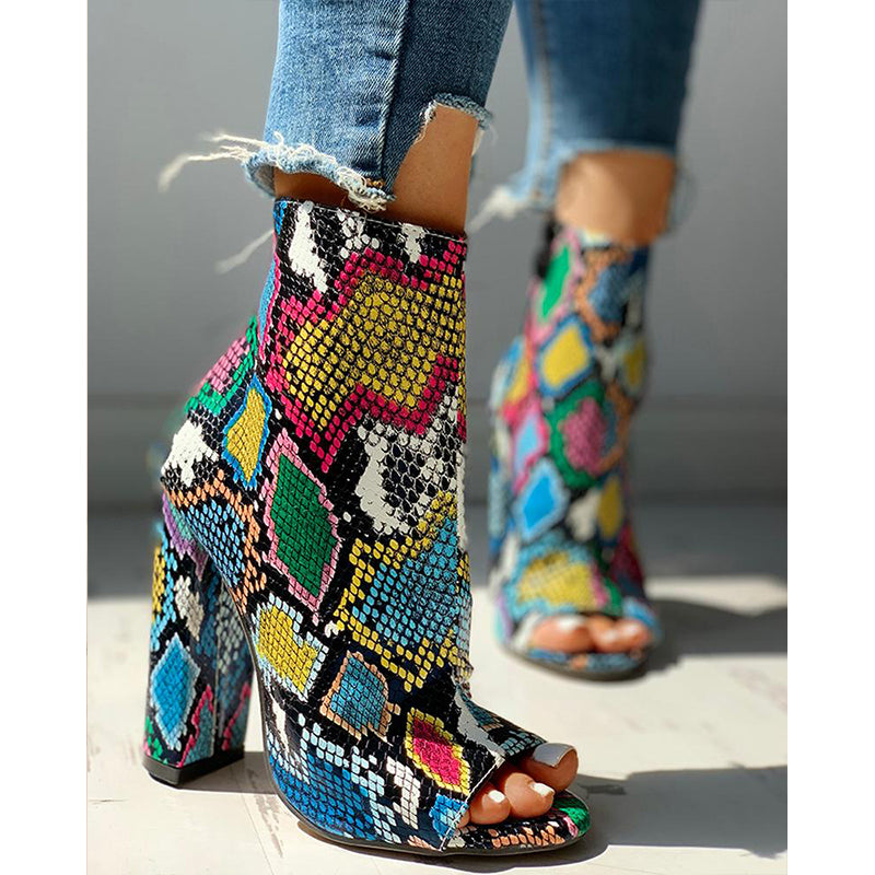Serpentine Zipper High Heels Sandal Boots