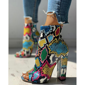 Open image in slideshow, Serpentine Zipper High Heels Sandal Boots