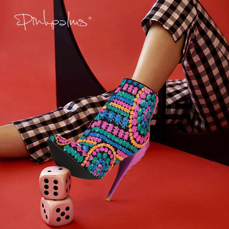 Pink Palms Sequined Bling Paillette Pointed Toe High Heels Ankle Boots