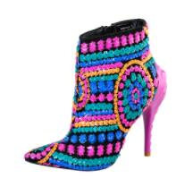 Open image in slideshow, Pink Palms Sequined Bling Paillette Pointed Toe High Heels Ankle Boots