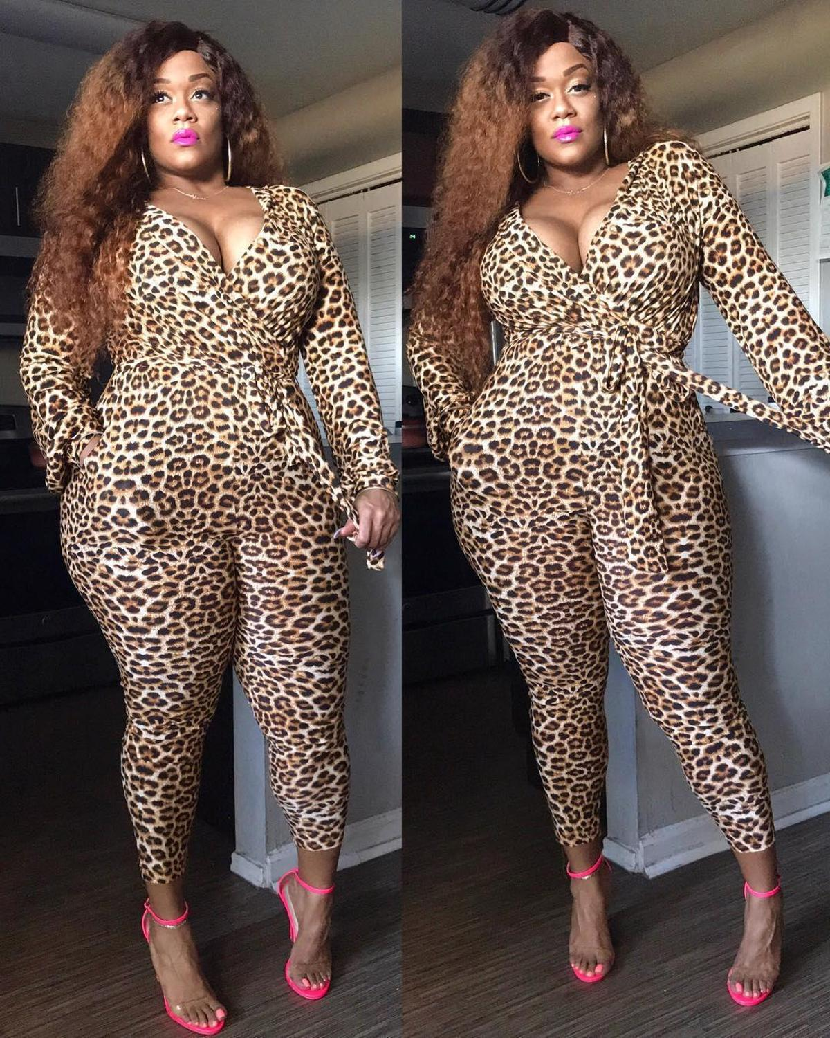 V-Neck Full Sleeve Leopard Print with Sash Tie Jumpsuits