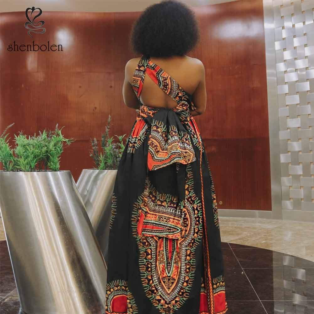 African High Split Fashion Hang Neck Maxi Dress