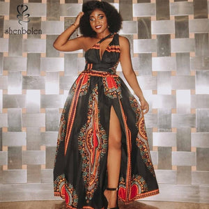 Open image in slideshow, African High Split Fashion Hang Neck Maxi Dress